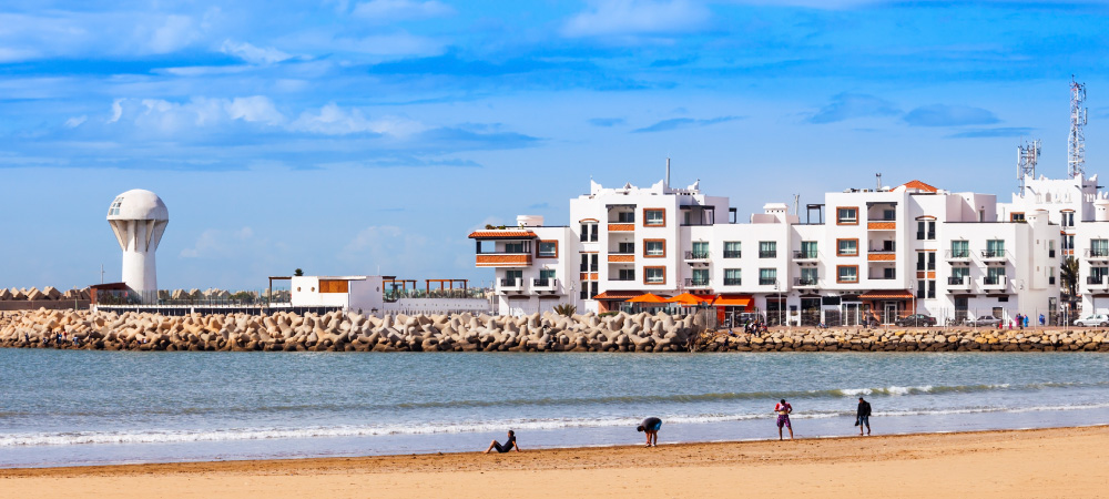 Agadir main beach in Agadir city, Morocco